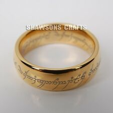 LORD OF THE RINGS JEWELRY 7MM GOLD TUNGSTEN CARBIDE ONE RING MENS SIZE 7-12