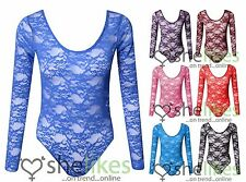 LADIES FLORAL LACE BODY TOP/BODYSUIT/LACE LEOTARD L/S