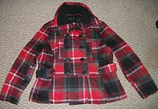 NEW LAST KISS RED PLAID PEACOAT JACKET WOMEN'S SIZE L XL 1X 2X