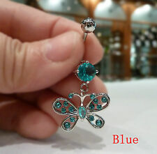 Quality Belly ring Dangle/Bar, 316L Surgical/CZ (Butterfly) Body jewellery BR-3