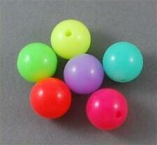 BRIGHT LUMINOUS ROUND ACRYLIC BEADS 6mm 8mm 10mm 12mm MIXED COLOURS GREAT FUN