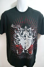 Men Black Graphic Tee Shirt White Siver Red  Shield Amor