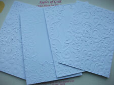 Embossed White A6 C6 Card Flowers Flourishes Postcard Craft Invitations Party*