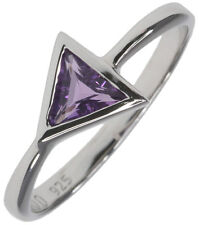 Amethyst Gemstone Trillion 6mm Solitaire Sterling Silver Ring size N