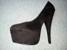 ENVY By CHERAG Platform Shoes. BNIB. Chocolate Brown Suede. 16cm Stiletto Heel