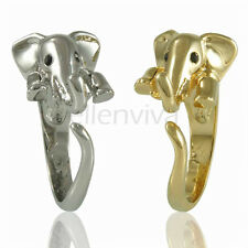 Enhanced Elephant Animal Wrap Ring 2pc Set Shiny Silver and Gold Tones rg006glst