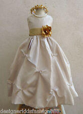 CHAMPAGNE TAN GOLD WHITE IVORY BLACK ORANGE FLOWER GIRL DRESS 2 4 6 8 10 12 14