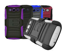 Samsung Galaxy S3 Holster Silicon Case + PVC Protector with Kickstand +Belt clip