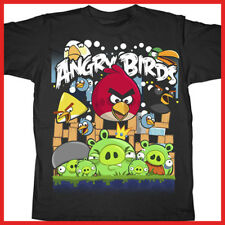 Angry Birds Kids T Shirt Group Assorted Birds with Pig Licensed Boy Black