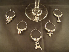 6 Christmas Party/Wine Glass Charms in Winter White or Silver by Elizabeth*SRAJD