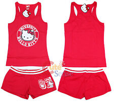 Hello kitty University Sleep Wear Tank Top and Pants PJ Set  Red Woman (S to XL)