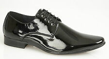 Mens Black Lace up Shoes Formal Wedding Dress Patent Pointed Toe Dance Shiny New