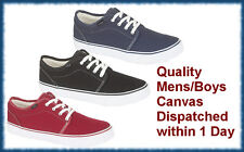 Mens Canvas Trainers Plimsolls Pumps Shoes Low Size 6,7,8,9,10,11,12 Casual Boys