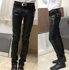 Men's Casual Skinny Sexy PU Faux Leather Denim Jeans Chaparajos Trousers Pants