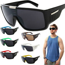 Biohazard Goggle Style Mens Designer Sunglasses with Metal Detail