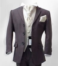 UK BOYS FORMAL 4 PC GREY & IVORY PAGEBOY SUIT WEDDING CHRISTENING PROM 6M to 16Y