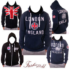 NEW MENS HOODIE PULLOVER JUMPER LONDON OXFORD UNION JACK ENGLAND ZIP S M L XL
