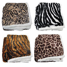 LEOPARD ZEBRA TIGER GIRAFFE - Luxurious Faux Fur Reversible Throw Blanket Rug