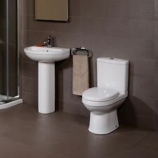 Compact Cloakroom Suite WC Toilet Soft Close Seat Bathroom 1 & 2 Tap Basin Sink