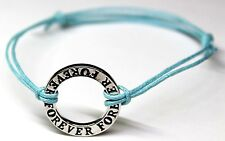 """""""Infinity Happiness Peace Forever"""" Silver Charm Cord Friendship Wish Bracelet"""