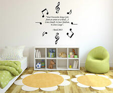 Personalised Favourite Song Lyric Music Notes, Vinyl Wall Art Sticker, Home