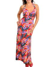 P66 -1X 2X 3X- Feather,Multi Colored Purple/Pink/Red Stretchy Long Halter Dress