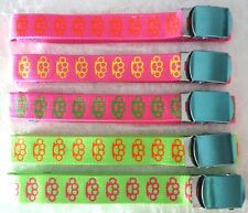KNUCKLE DUSTER NEON CANVAS BELT WITH BUCKLE PINK GREEN CLUBWEAR QUIRKY CYBER FUN