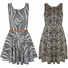 Ladies Optical illusions Sleeveless Franki Lace Belted Womens Party Skater Dress