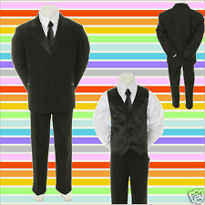 New Kid Child Boy Black FORMAL Wedding Party Church SUIT Set Tuxedo Suit sz 5-14