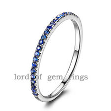 Natural Blue Sapphires Stackable Micro Pave Solid 14K White Gold Wedding Ring