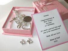 18th, 21st, 16th silver personalised girls birthday gift, Gift box handbag charm