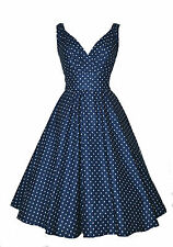 New Ladies 1940's / 1950's Vintage Style Navy Dot Flared Cotton  Swing Tea Dress