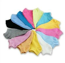 10 Pairs Korean Womens Solid Candy Color Cotton Sport Short Low Cut Ankle Socks