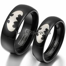 8mm / 6mm Black Dome Tungsten Carbide Ring w Silver Laser Etched Batman Symbol