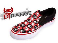 SHOES UNISEX SLIP ONS CANVAS SKULLS RED 86278 BLACK CHECK GOTHIC EMO SUMMER