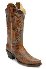 Womens Corral Cognac Blue Butterfly Western Leather Vintage Cowboy Boots