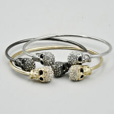 Two Skull Charm Bangle Bracelet Cubic Zirconia CZ Crystal Fashion Jewelry