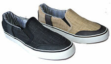 Elegant Men Canvas Loafers & Slip Ons Boat Style Casual Shoe Blk/Tan Size 7~10