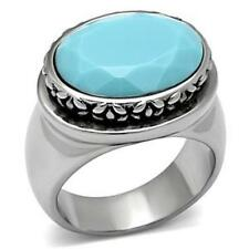 Oval Aqua Marine Synthetic Stainless Steel High Polished Ring FSH