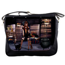 Stage Witch Actress for Halloween with hat and cat Digital Collage Messenger Bag