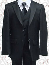 BOYS UK BLACK 3PC PAGE BOY SUIT WEDDING, PARTY, DINNER, PROM, AGE 6M TO 16 YRS