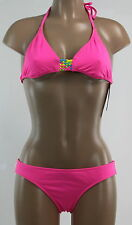 NEW ROXY 2 PCS BIKINI SWIMSUIT HALTER PINK REVERSIBLE $84