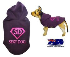 """Dog Hoodie Glitter 'Sexy Dog"""" S M L -Jumper Chihuahua Puppy Coat Jacket Clothes"""