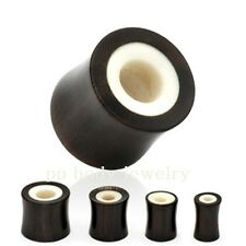 "PAIR 2g, 0g, 00g, 1/2"" Buffalo Horn with Bone Inlay Saddle Tunnel Ear Plugs"