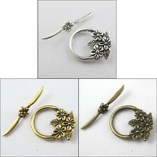10Sets Tibetan Silver Gold Bronze Tone Flower Toggle Clasps Connectors Craft DIY