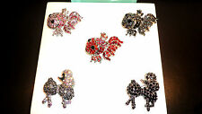 RED PINK BLACK FISH POODLE PARROT BROOCH PIN RAINBOW 4COLOURS - PAVE SET CRYSTAL