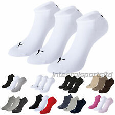 PUMA Sports Socks - Unisex Invisible Sneakers 3P -Three Pair Packs Of Plain/Mix