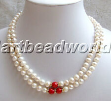 variations color 1 2 3 strand jade coral & white color freshwater pearl necklace