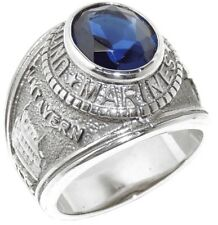 Stainless Steel Deep Blue CZ Mens Marine/Military Ring SIZE 9,10,11,12,13