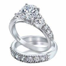 Oliana: 4.12ct Russian Ice on Fire CZ 2 pc Bridal Wedding Ring Set Heart Accents